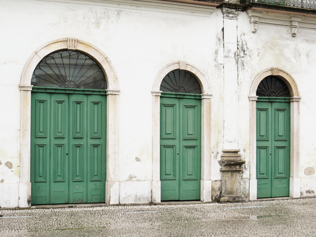 July 22, 2018, City of Santos, Sao Paulo, Brazil, Facade with green doors of the old Cason do Valongo, present Pel? Museum, in the historical center. Editorial