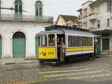July 22, 2018, City of Santos, São Paulo, Brazil, electric cable car in a tour of the historical center. Editorial