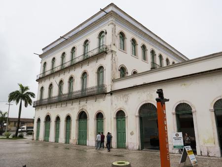 July 22, 2018, Santos, Sao Paulo, Brazil, historic center, facade and entrance of the current Casa Valongo Museum Pele.
