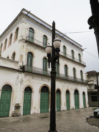 July 22, 2018, Santos, Sao Paulo, Brazil, historic center, facade with windows and doors of the Pel? Museum, in Cason Valongo.