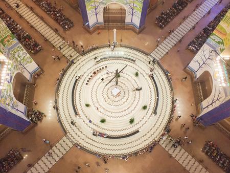 March 22, 2018, Aparecida, Sao Paulo, Brazil, top view of the Central altar of the National Shrine of Our Lady Aparecida, with pilgrims praying.
