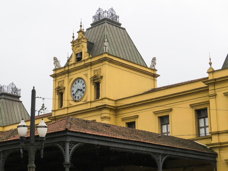 July 22, 2018, Santos, Sao Paulo, Brazil, clock tower of the old train station, English style.
