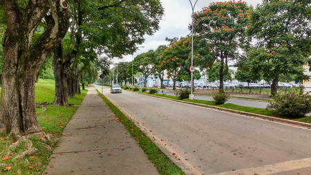 February 22, 2016, Viçosa, Minas Gerais, Brazil, avenue of the campus of the Federal University of Viçosa, on a sunny and quiet day.