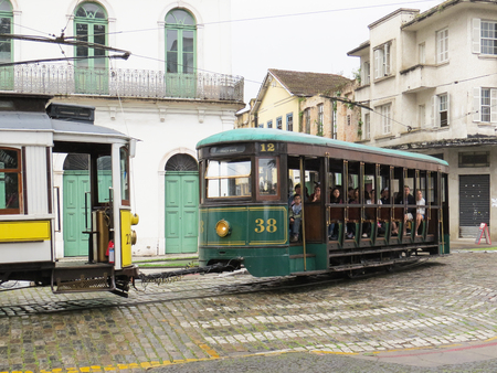 July 22, 2018, Santos, Sao Paulo, Brazil, green electric cable car in a tour of the old city center Editorial