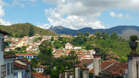 March 25, 2016, Historic city of Ouro Preto, Minas Gerais, Brazil, view of the city with Chapel of Our Lady of Sorrows and Pico Itacolomi in the background.