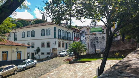 March 25, 2016, historic town of Ouro Preto, Minas Gerais, Brazil, slope with colonial mansion in the center, from the time of gold exploration.