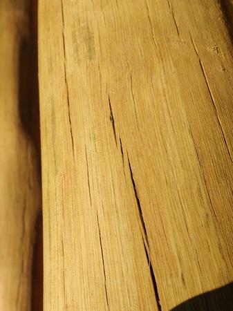 Close-up of dry wood log cut, with cracks. Banco de Imagens
