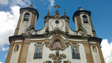 March 25, 2016, historic city of Ouro Preto, Minas Gerais, Brazil, detail of the facade of the Church of Our Lady of Carmo, with its towers against the sky. Editorial