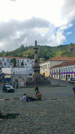 March 25, 2016, historic city of Ouro Preto, Minas Gerais, Brazil, stone floor square of the Tiradentes Monument, on a sunny day. Editorial