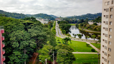 March 27, 2016 - Vi osa, Minas Gerais, Brazil, aerial view of the campus of the Federal University of Vi?osa, main avenue of the entrance. Editorial