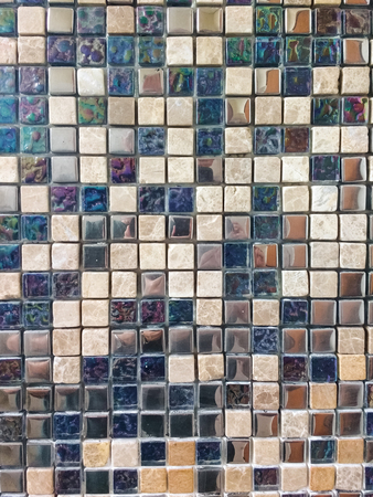 Tiled floor surface in ceramic mosaic lined. With shiny and marble surfaces. Banco de Imagens