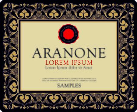Etichetta vino italia illustrazione grafica nera Amarone e Prosecco
