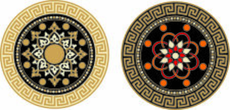 ANCIENT ROUND SYMBOL OF BAROQUE AND ARAB STYLE Ilustracja