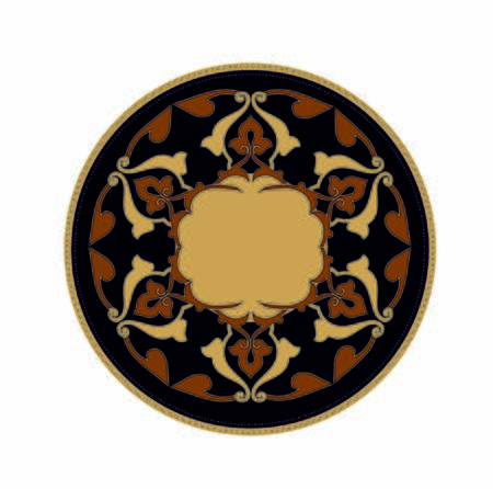 ANCIENT ROUND SYMBOL OF BAROQUE AND ARAB STYLE  イラスト・ベクター素材