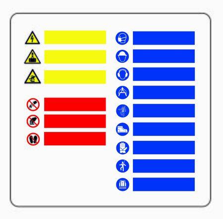 DANGER AND WARNING SYMBOLS STOP AND ALT PROHIBITION Иллюстрация
