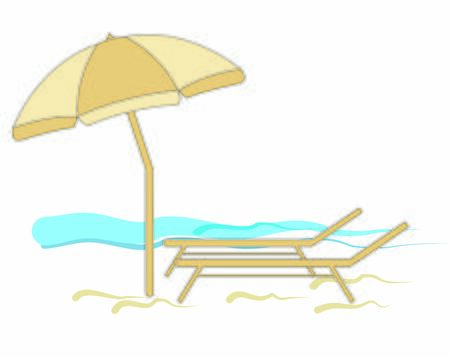 BEACH UMBRELLA WITH BED ON THE SEA SUMMER HOLIDAY