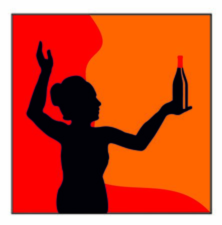 IMAGE OF WOMAN WITH WINE AND GLASS