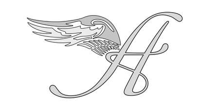 TATOO WITH ANGEL WINGS AND LETTER A