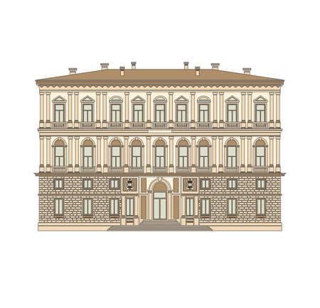 DRAWING OF HISTORICAL BUILDINGS OF VENICE, ANCIENT ITALIAN ARCHITECTURE IN GOTHIC AND NEOCLASSIC STYLE