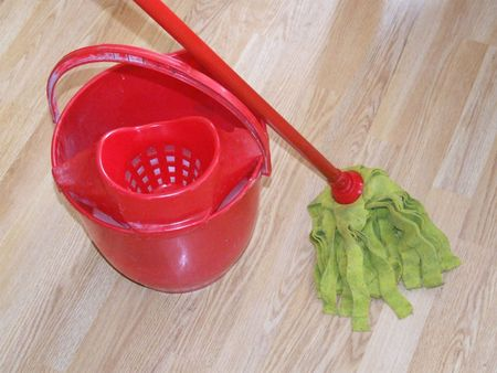 sanitizing: Cleaning tool: mop and bucket