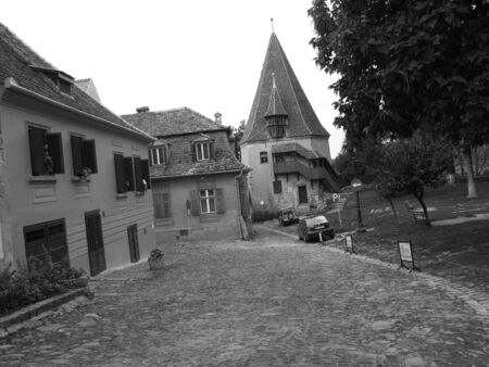 ancient street view from Sighisoara photo