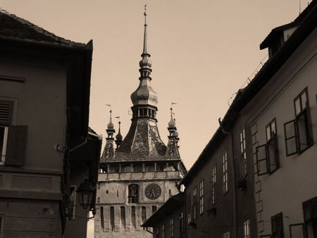 clock tower: The clock tower from Sighisoara sepia view