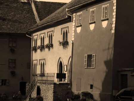 Street from Sighisoara citadel - sepia view Stock Photo - 575566