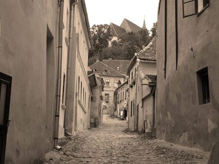 Medieval street view with houses Stock Photo - 575397