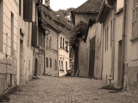 Medieval street view with houses Stock Photo - 575508