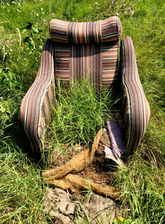 Old armchair destroyed by grass