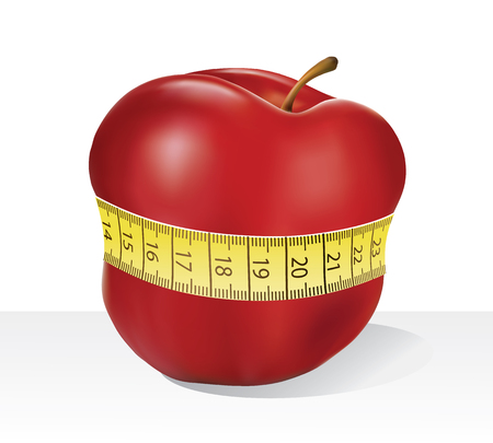 slimming: Illustration on red apple and measuring tape - slimming