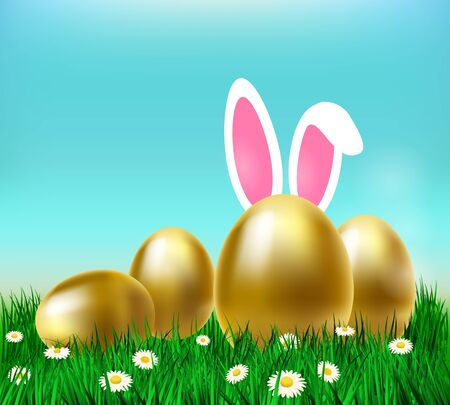 Happy easter, vector illustration with golden eggs