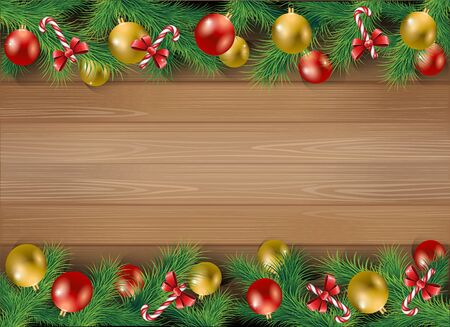Elegant Christmas background with Christmas toys, tree leaves and candy