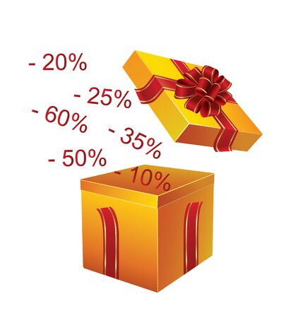 red gift box: Gift box with red ribbon and with falling prices