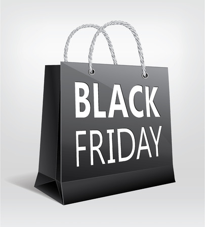 Black Friday Sale, gift bag design, web icon and symbol