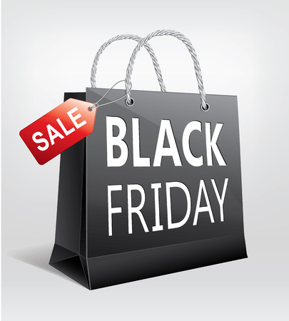 Black Friday Sale, gift bag with label Ilustração