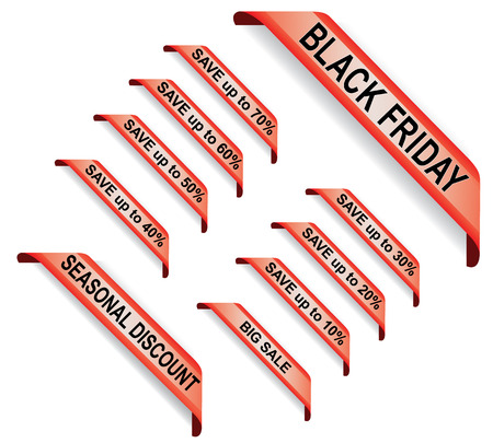 Black Friday. Set red price tags, labels and stickers