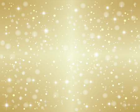 Christmas - gold background with snowfall and stars