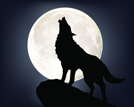 Howling wolf on full moon