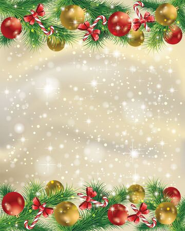 Elegant gold Christmas background with Christmas toys, tree leaves, candy and snow