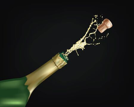 Vector illustration - Close-up of champagne explosion Иллюстрация