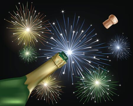 Vector illustration - Close-up of champagne explosion and firework