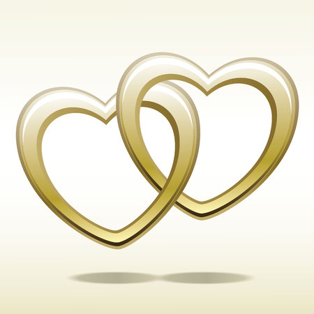 Valentines Day themed, Gold heart shaped rings attached to each other.