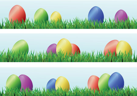 Easter background with eggs and grass. Colorful abstract banners. Иллюстрация