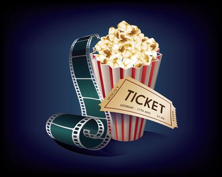 Cinema Vintage with film strip, popcorn and movie ticket.