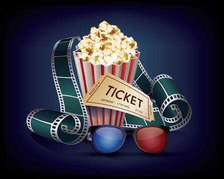 Cinema Vintage with film strip, popcorn, glasses cinema and movie ticket.