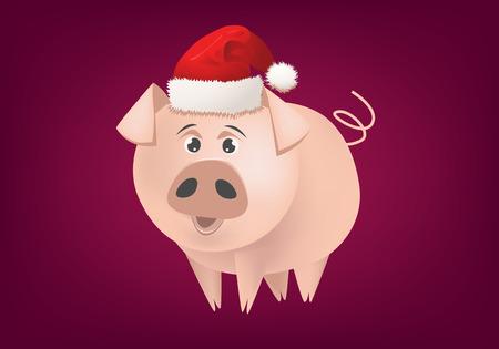 Happy New Year 2019.   Cartoon pig with Santa hat. Ilustração