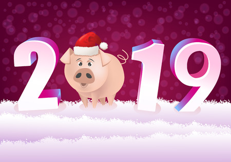 2019 Happy New Year! Illustration with cartoon pig