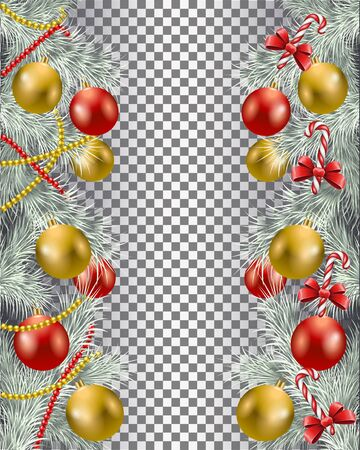 Christmas border set with garland and candy vector image