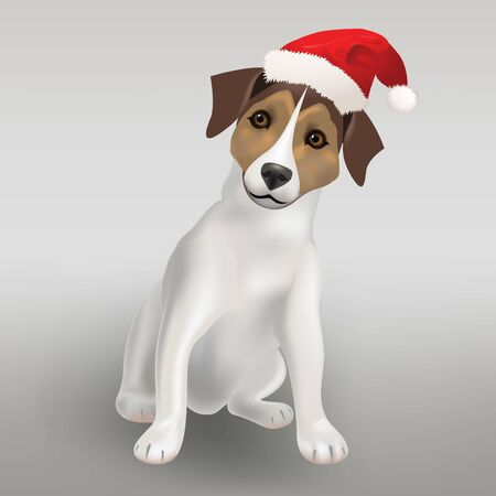 Dog Jack Russell Terrier in the red hat of Santa Claus, Christmas vector illustration Иллюстрация